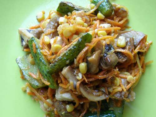 Рецепты корейские салаты морковь шампиньоны