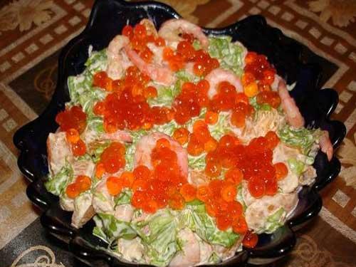 Салат с креветками и икрой рецепты с